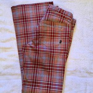 A&F Retro Plaid Bellbottom Flare Pants
